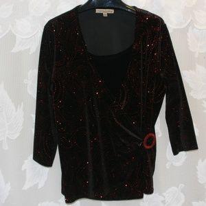 Black Velour Sparkly, bling top